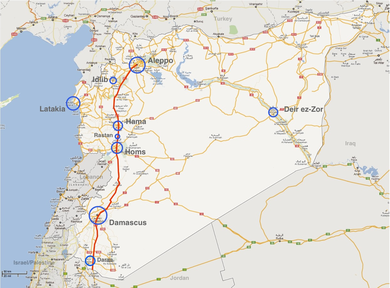 M5 highway aleppo damascus ocessing map of syria with the cities mentioned above the red line is the m5 highway map stitched together from screen shots from google maps gumiabroncs Gallery