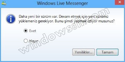 Windows Live Messenger Yükseltme