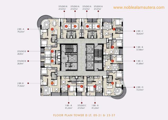 Floor Plan Apartemen The Noble Alam Sutera