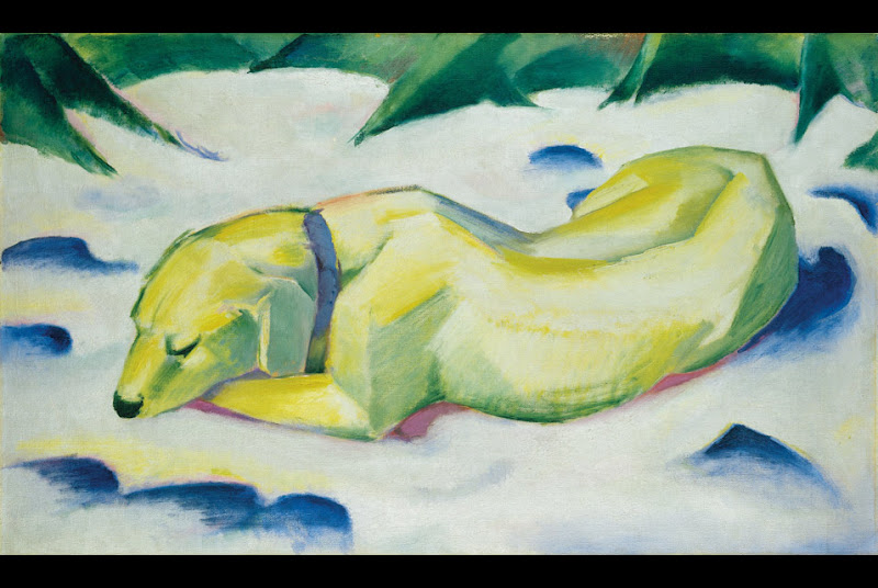 Franz Marc (1880-1916), Dog Lying in the Snow, um 1911. Oil on canvas  title=