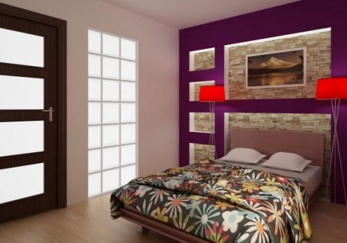 Habitaciones con paredes violetas dormitorios con estilo - Cabeceros de piedra ...