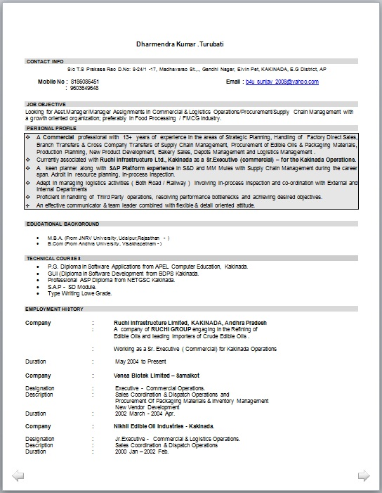 Sr manager operations adminisration resume