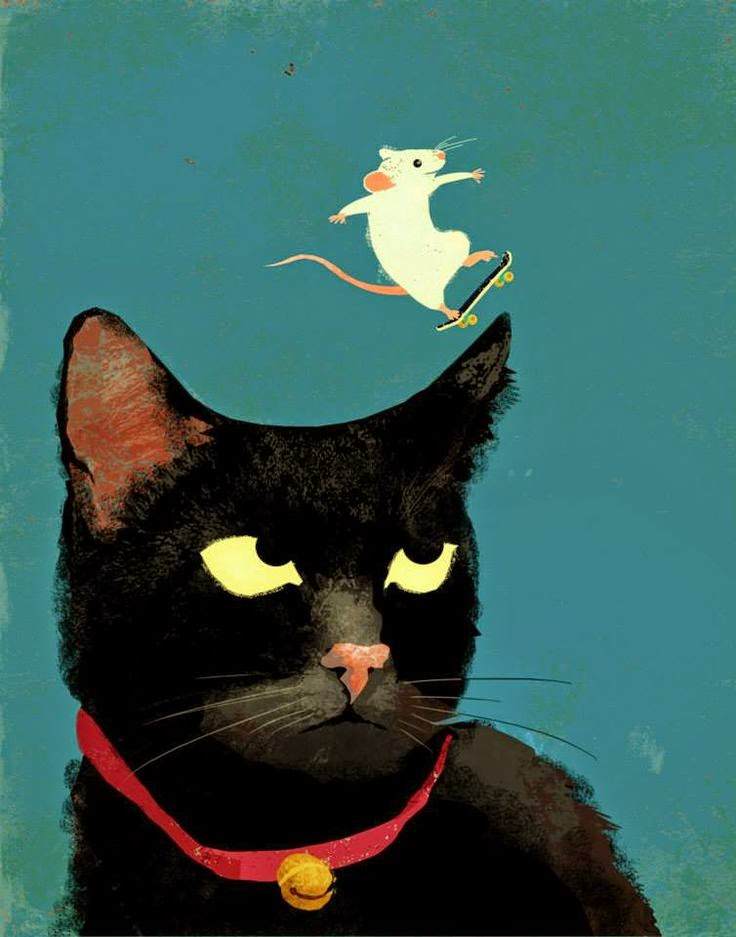 a mouse skateboarding on a cat's head illustration by Eva Vázquez
