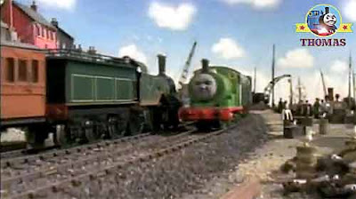 Royal blue Edward the tank engine oil wagons and Percy the train pulling Henry's special coal trucks