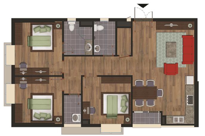 Chi tiết căn hộ A chung cư Green House