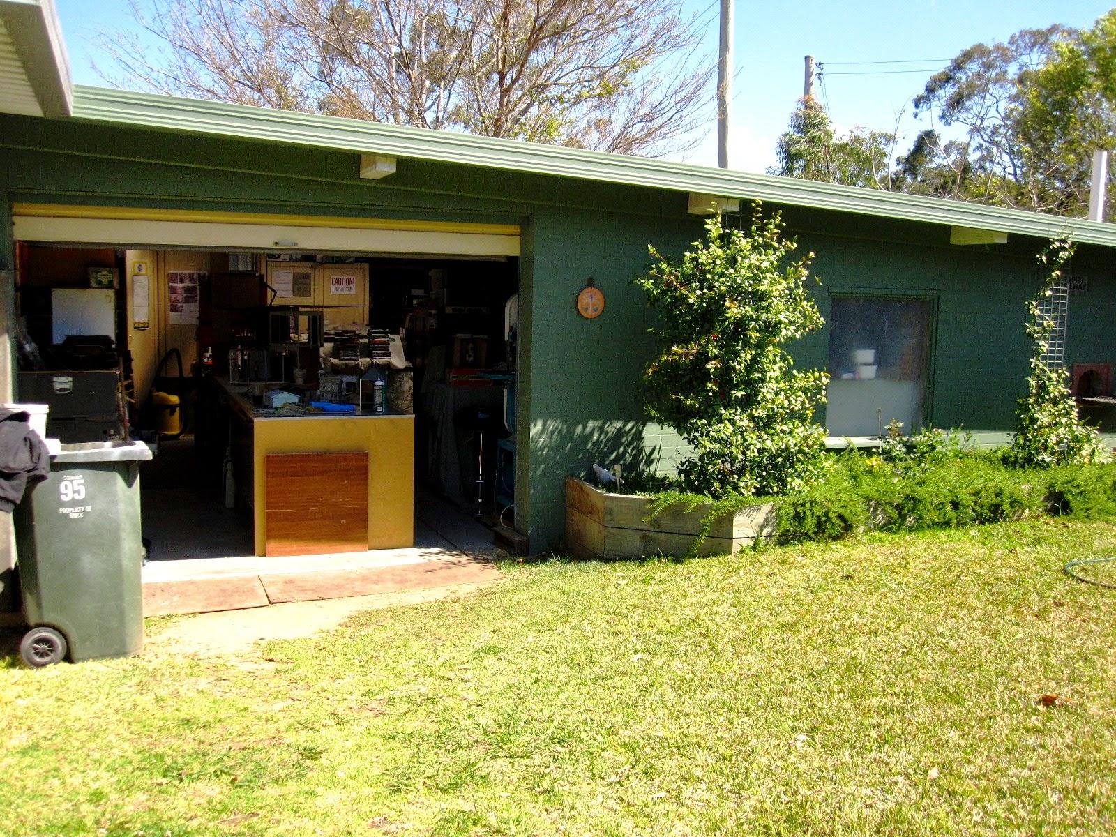 Garage workshop in a back yard.