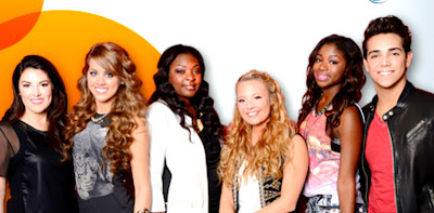 American Idol contestants Kree, Janelle, Angie, Candice, Amber, and Lazaro