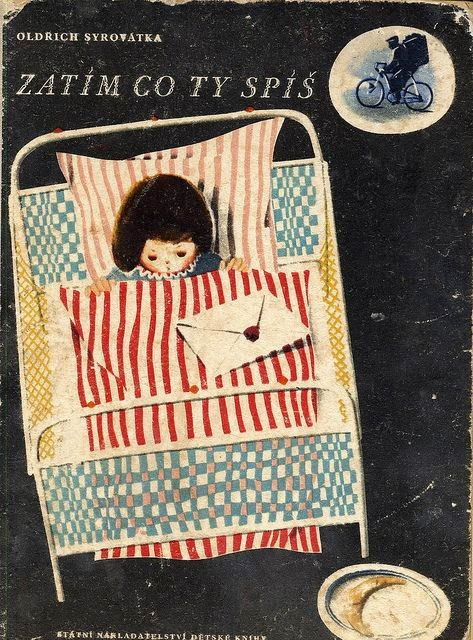 little girl bed sleeping book cover illustration by Oldrich Syrovatka