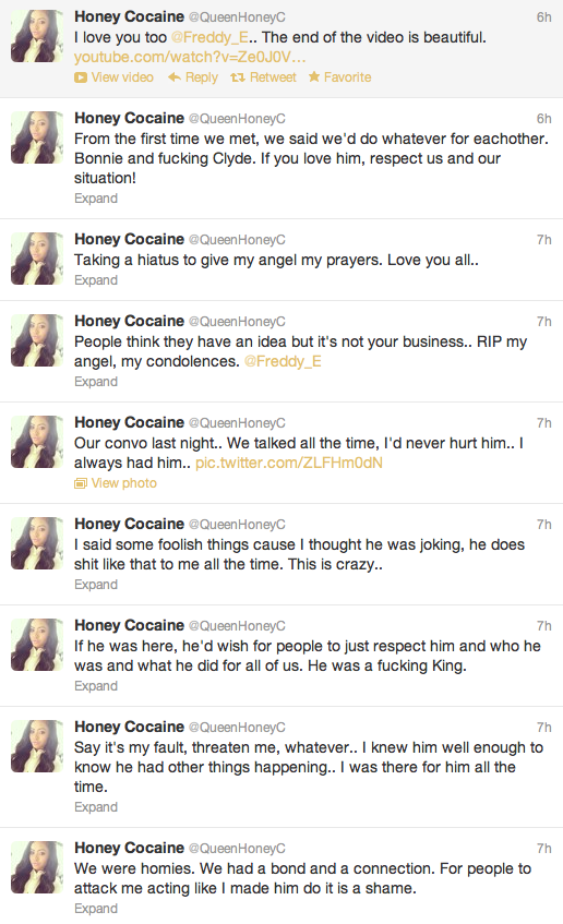 Honey Cocaine's tweets after Freddy's death