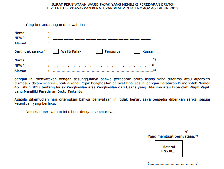 contoh surat pernyataan yang menjadi lampiran surat permohonan SKB Wajib Pajak UKM PP46