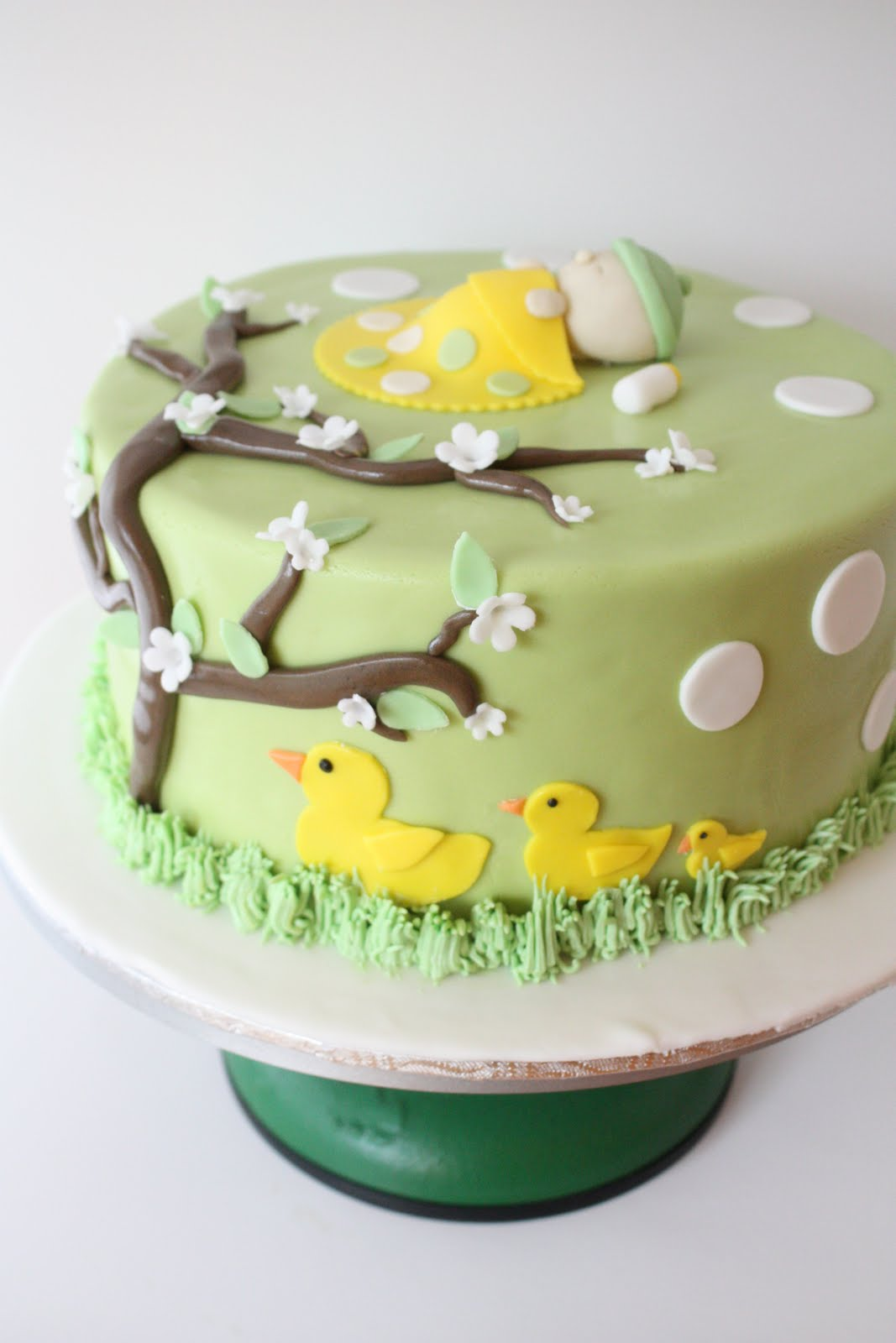 I Also Made A Cute Baby Shower Cake Where The Theme Was Ducks With Yellow  And Green Colours. I Love The Babyu0027s Face And The Tiny Bottle!