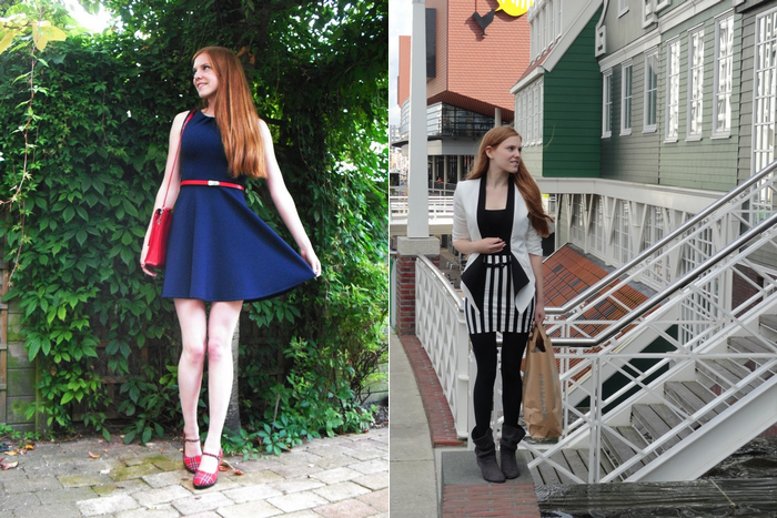 Fashion Blogger Outfit Dark Blue Red Black White