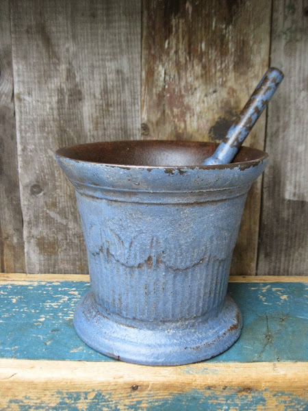 Early Cast Iron Mortar and Pestle in Blue Milk Paint