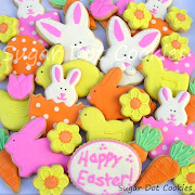 I made Easter sugar cookies decorated with royal icing. easter sugar cookies decorated royal icing bunny rabbit chick egg carrot flower daisy tulip