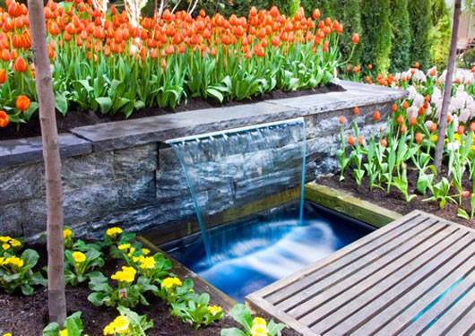 Contemporary Backyard Waterfalls : Home And Garden  contemporary water feature