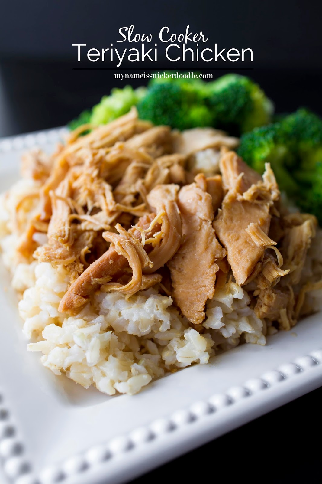 With only 2 ingredients you can make this Teriyaki Chicken easy peasy!  And to make it even easier, it's cooked in the slow cooker.  |  My Name Is Snickerdoodle