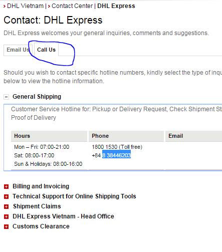 Call dhl express