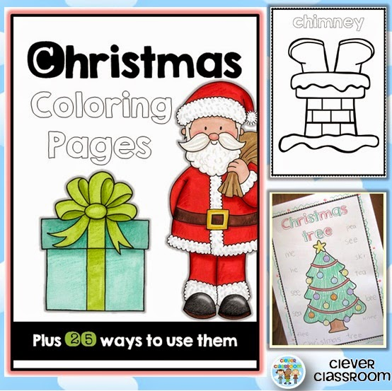 Christmas Coloring/Vocab Pages and 25 ways to use them
