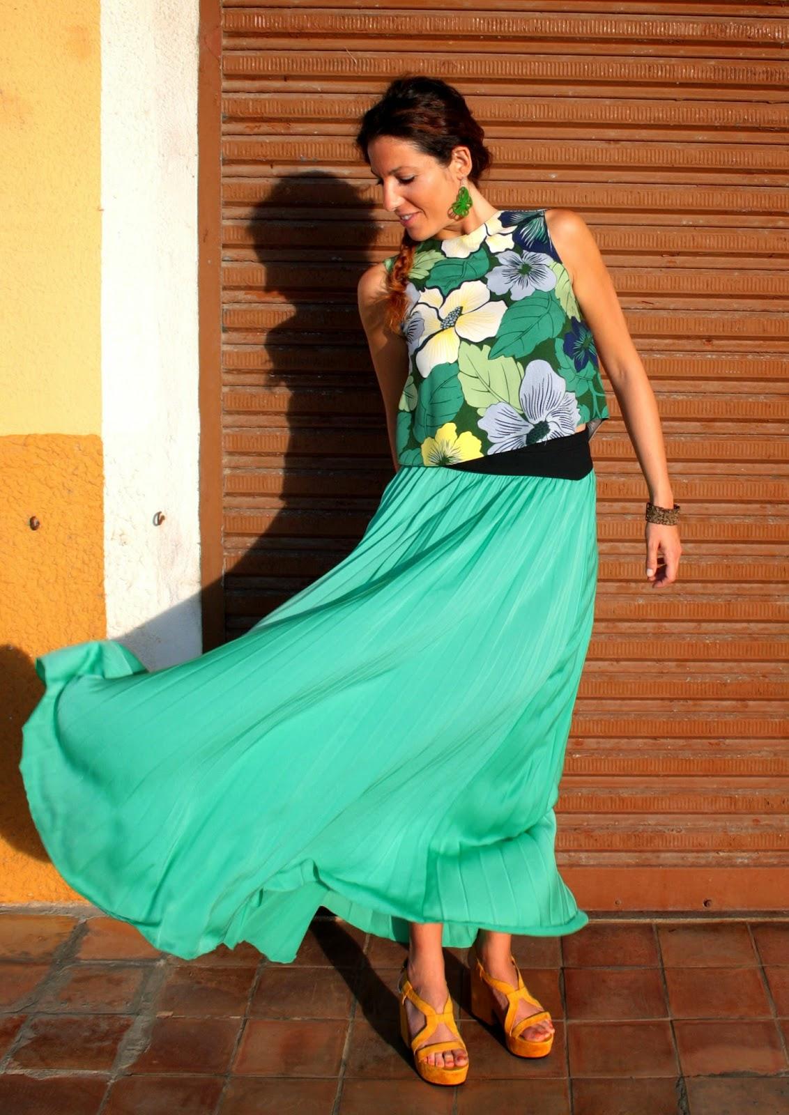 falda larga tablas verde