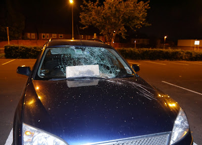 Car with smashed windscreen