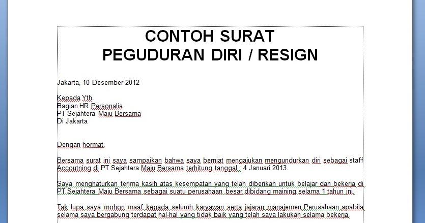Contoh Surat Resign Dalam Word