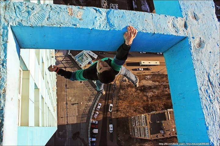 Russian Daredevil Hanging Off Vertigo-Inducing Ledges