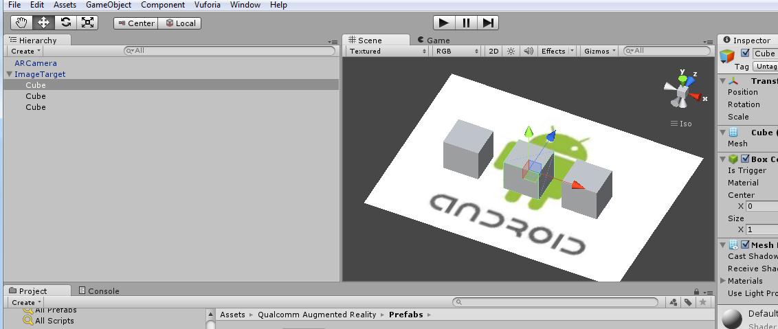 Posisikan Cube ata Obyek 3D lain tepat diatas Marker