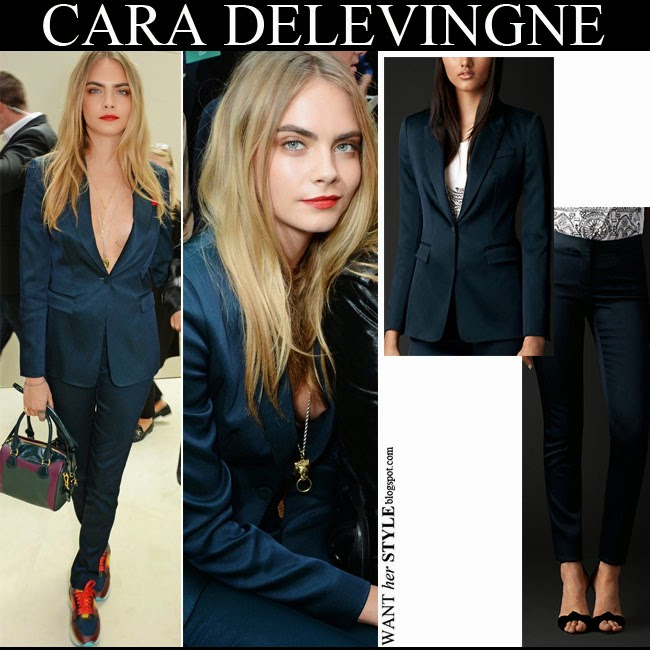 Cara Delevingne in dark blue silk jacket and blue silk pants september 15 2014 want her style fall fashion