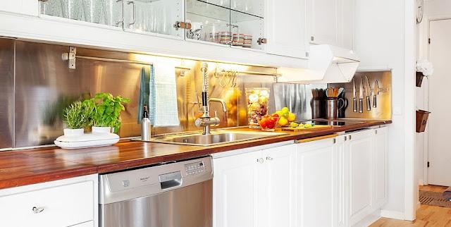 detalhes em inox na cozinha