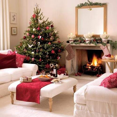 Christmas Tree Fire Place Decorating Ideas for 2012