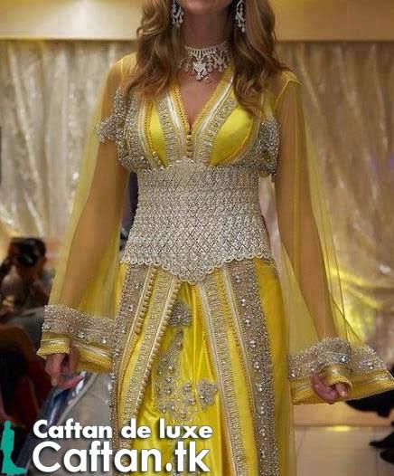 Caftan marocain jaune aristocrate