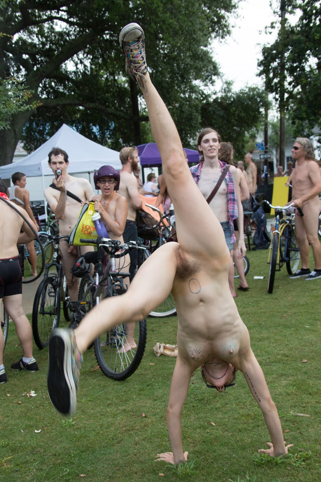 naked on a bicycle