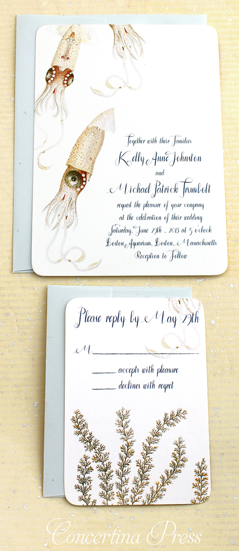 Delicate pink squid wedding invitation with vintage scientific illustrations by Concertina Press