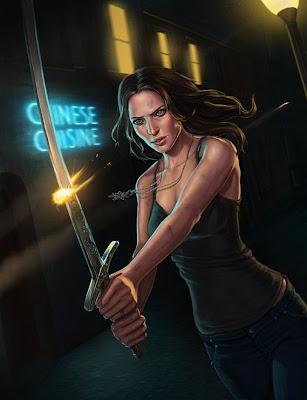 Mujer con espada de samurai