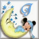 Alfabeto de Mickey Bebé durmiendo en la luna J.