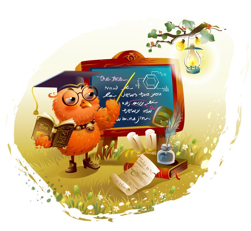 勉強を教えるフクロウ先生 Owl teacher to study イラスト素材