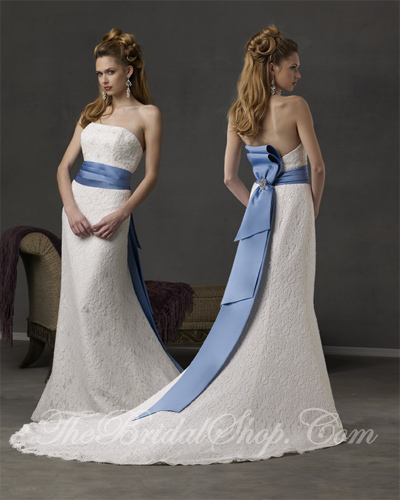 Elegant white wedding dress designs with ribbon decoration for Blue sash for wedding dress