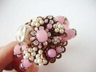 romantische Schmuck Strass-Schmuck pink Pastellfarben Armband Manschette Perlen