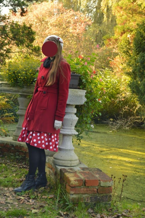 outfit, ootd, red, minnie mouse, retro, skirt, polka dot, autumn