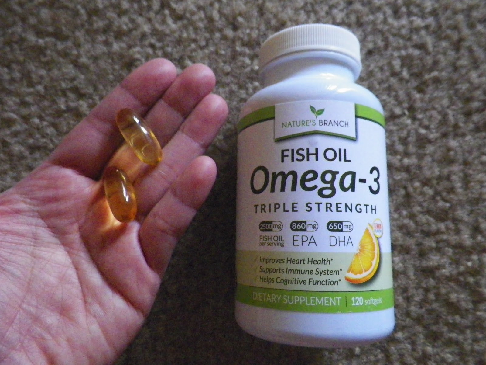 Mygreatfinds nature 39 s branch triple strength omega 3 fish for Fish oil pills for buttocks review