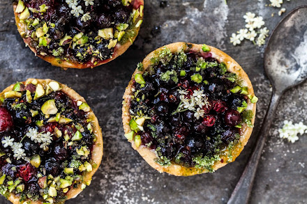 Blackcurrant and lemon verbena tartlets