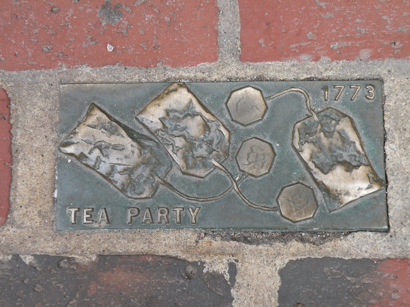 Boston Tea Party 1773 brick monument