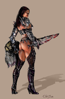 metal armor scary warrior chick bloody sword