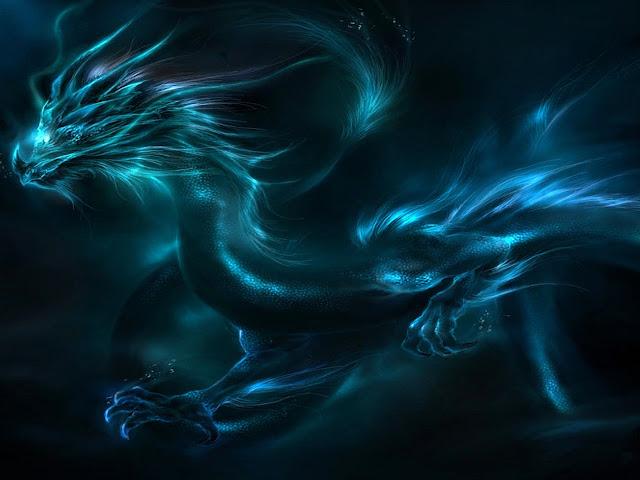 dragão azul, dragão nas nuvens , dragão chinês, dragão zodiacal
