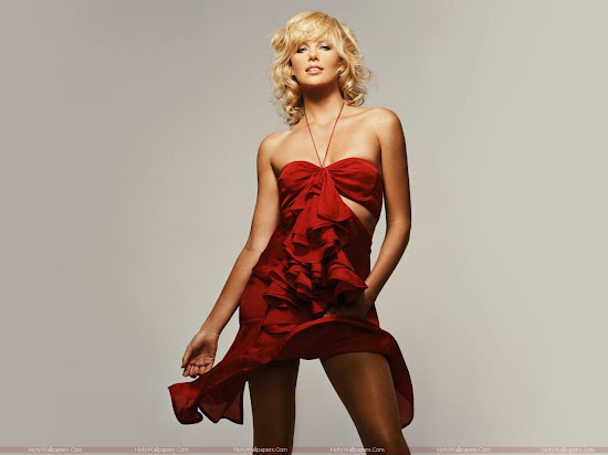 Charlize Theron Wallpaper in Red