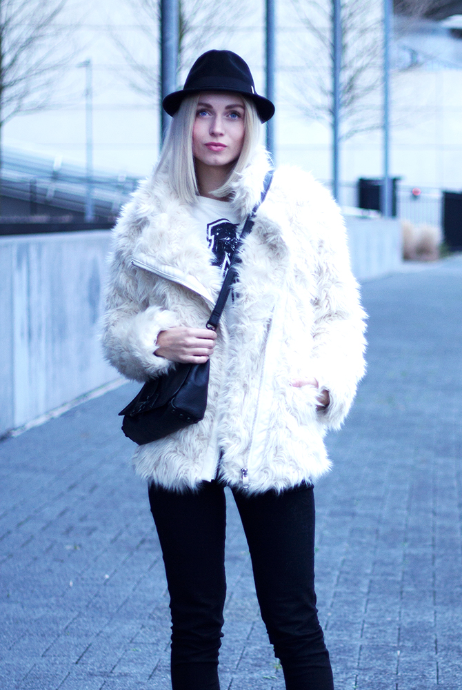 Fashion Attacks outfit ootd fluffy black and white days