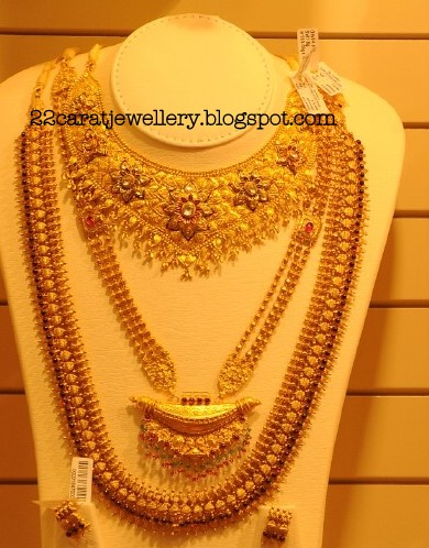 Checkout 22 Carat Gold Longchains Antique Necklace Sets Earrings Bridal Jewellery Traditional From Kalyan Jewellers