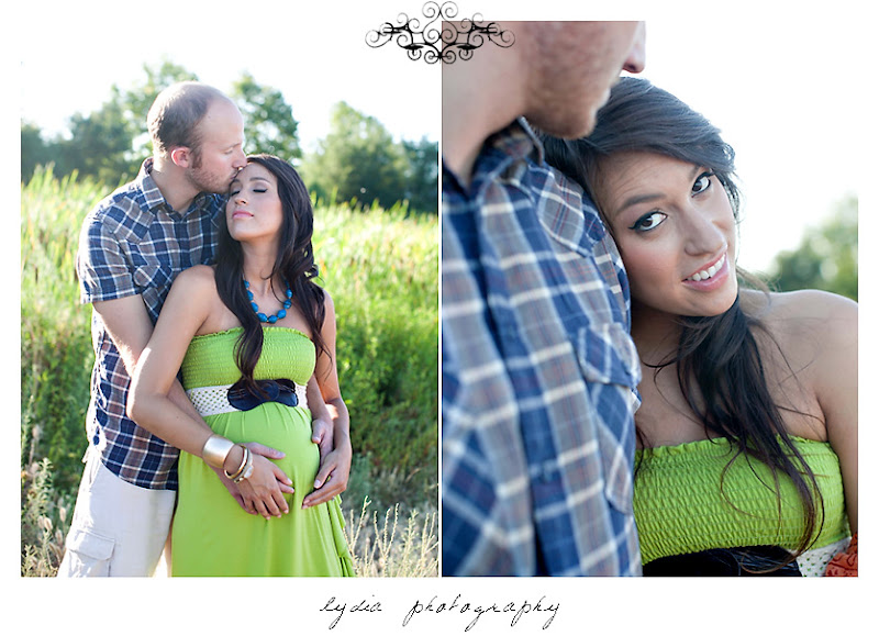 Lifestyle maternity portraits in field at William Jessup University in Rocklin, California