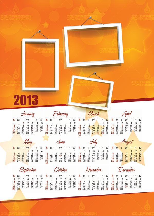 2013 Calendar Psd Template Coldfiredsgn