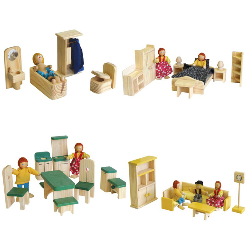 Romantic Flair Original Wooden Pine Doll House Furniture Sets Romantic Flair Original
